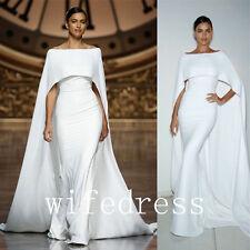 2016 White Off Shoulder Cloak Dresses Evening Formal Prom Cape Gowns Bridesmaid