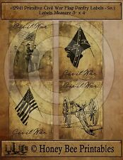 Primitive Civil War Confederate Rebel Union Pantry Labels Set of 4 • 12941 #5