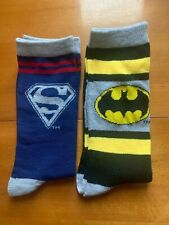 "DC Comics Justice League 2 Crew Socks ""Batman & Superman"" NEW"