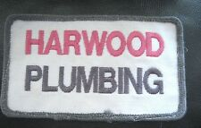HARWOOD PLUMBING EMBROIDERED PATCH UNIFORM BADGE North Bay Ontario 4 1/4 x 2 1/2