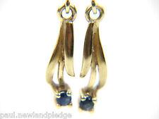 Da donna 9 carati 9ct Orecchini Oro con Pietra Blu, 1,37 g