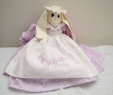 Usa-Made Handcrafted Rabbit Doll Wearing Bonnet and Hand-Stitched Pink Dress