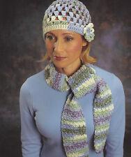 Crochet Pattern ~ LADIES OPEN-WORKED HAT & SCARF SET ~ Instructions