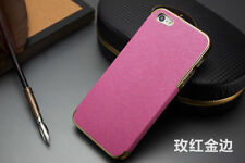New Luxury Leather with Gold Frame Chrome Hard Back Case Cover For iPhone 5 5S
