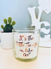 Grey Wax Vanilla Scented Candle Votive Gift Home Decor - The Little Things Quote