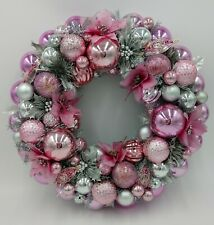 Pink & Silver Sparkle Christmas Ornament Wreath