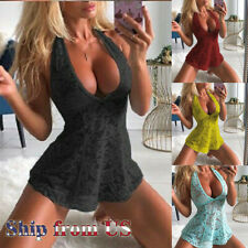 US Women's Lingerie Floral Lace Sleepwear Sexy Underwear Dress See-Thru Babydoll