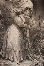 "Lithographie originale 1829 Achille Devéria ""L'attente"" Romantisme"