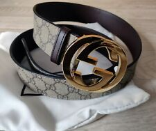 Authentic Gucci  leather GG Supreme belt with G buckle