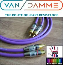 1m Pair - Van Damme RCA Phono Cables - Pro Grade Silver Plated Pure OFC Purple