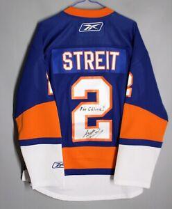 NHL NEW YORK ISLANDERS USA ICE HOCKEY SHIRT JERSEY REEBOK STREIT #2 SIGNED Sz S