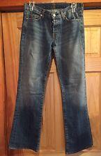 """Womens 7 For All Mankind Boycut Jeans Button Fly 30""""x 31"""" Denim Boy Cut WJ"""