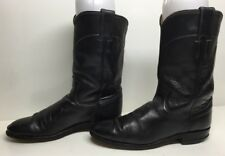 VTG WOMENS JUSTIN WESTRN ROPER LEATHER  MIDNIGHT BLUE BOOTS SIZE 6 B