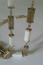Vintage Square Bead Necklace White Plastic and Gold Tone