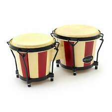 """More details for world rhythm oak bongos, 6"""" & 7"""" heads in natural and red stripe bongo drums"""