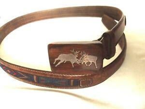 Vtg Bull Elk Battling Sterling Inlaid Big Game Belt Buckle Signed GVY ~ USA