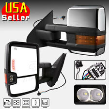 Silverado GMC Towing Mirrors for 07-13 Chrome Power Heat LED Signals&Backup Lamp