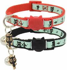 Glow in The Dark Cat Collar with Bell Breakaway Safety Puppy Collars w/ Pendant