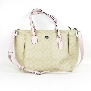Coach Light Pink/Tan Trendy Diaper Bag Handbag Or Tote Excellent Used Condition