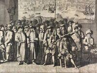 Gravure ancienne Turquie Smyrne Izmir Cadi Portrait Consul Jan Lamsvelt 18e rare
