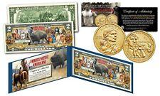 FAMOUS NATIVE AMERICANS Buffalo Genuine $2 Bill w/ Jim Thorpe Sacagawea $1 Coin