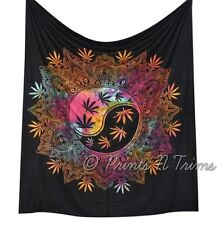 Multi Color Marijuana Leaf Tapestry Cannabis Hippie Weed Yin Yang Wall Hanging