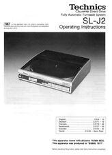 Technics SL-J2 Turntable Owners Instruction Manual Reprint
