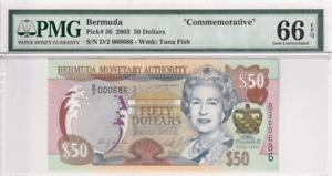 2003 Bermuda 50 Dollars P-56 S/N D/2 000686 'Commemorative' PMG 66 EPQ Gem  UNC