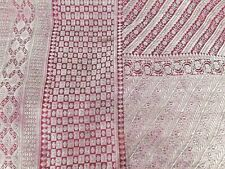 Vintage Heavy Brocade Sari Silver Zari Work Maroon 5 Yards Saree India