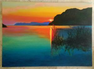 Serenity at Sunset Original Acrylic Painting on Plain Canvas Lake Sun Reflection