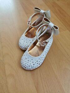 Baby Girl Ted Baker wedding christening shoes flats bow Size UK 4 EUR 20