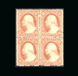 US Stamp Mint, VF S#26 Blk 4, lightly hinged, very fresh color & nice orig. gum
