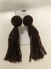 Oscar de la Renta AUTHENTIC Short beaded Brown Tassel Earrings