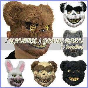 Erwachsene Kind Hase Bär Spiel Maske Latex Horror Halloween Phantasie Requisiten
