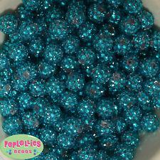 14mm Turquoise Rhinestone Resin Bubblegum Beads Lot 20 pc.chunky gumball