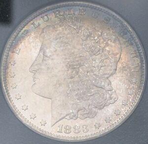 1883-CC Morgan Silver Dollar Carson City GSA Uncirculated Rainbow Toning Canvas