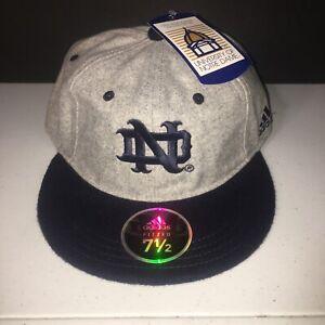 7 1/2 Notre Dame Blue/Gray Team Issued Baseball Hat Adidas BNWT 100% Melton Wool