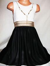 GIRLS WHITE LACE BLACK CHIFFON CONTRAST GOLD TRIM PRINCESS PARTY DRESS age 3-4