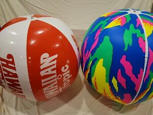 (AS IS) 2 x Vintage Giant Beach Balls, Damaged Please see Pictures + Description