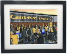 More details for castleford tigers, the jungle. high quality framed rugby art print. approx a4
