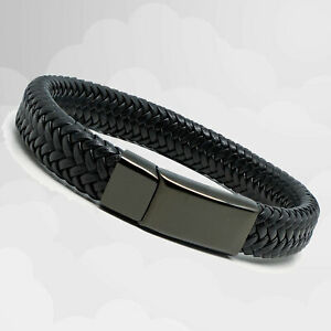 Mens Luxury Black Leather Braided Wristband Wrap Bracelet Magnetic Steel Clasp
