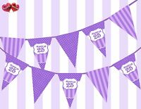 Pretty Purple Happy 25th Birthday Vintage Polka Dots Theme Bunting Banner Party