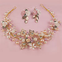 Pearl Flower Crystal Rhinestone Wedding Bridal Headband Clip Hair Band Handmade`