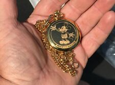Mickey Mouse Pulsar Mens Pocket Watch Disneyana Collectible With Chain Disney
