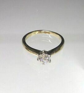 Solitaire Engagement Ring 9ct Yellow Gold 1/2ct Diamond Simulant Pristine  M