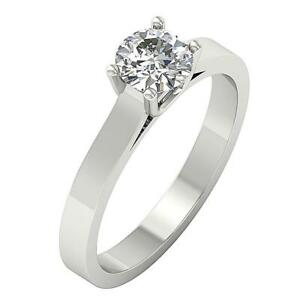 Solitaire Anniversary Ring I1 G 0.80 Ct Round Diamond 14K Solid Gold Prong Set