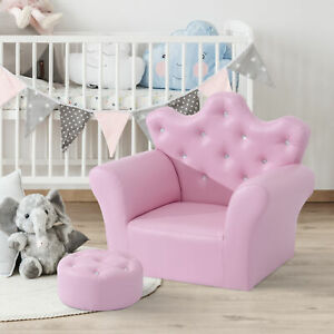 Children Kids Sofa Set Armchair Chair Seat With Free Footstool PU Leather Pink