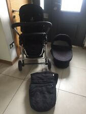 ICANDY CHERRY BLACK TRAVEL SYSTEM PUSHCHAIR CHASIS CARRY COT FOOTMUFF RAINCOVER