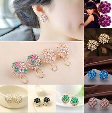 Fashion Women Elegant Flower Crystal Rhinestone Ear Stud Earring Jewelry New