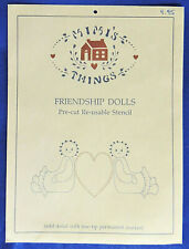 Mimi's Things Friendship Dolls Pre-Cut Reusable Stencil Heart Between 2 Dolls